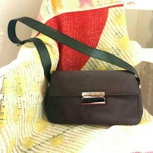 Salvatore Ferragamo Black Nylon Canvas Handbag. B